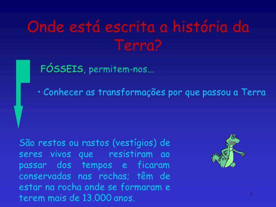 2 Onde está escrita a história da Terra? FÓSSEIS FÓSSEIS, permitem-nos... Conhecer as transformações por que passou a Terra São restos ou rastos (vest