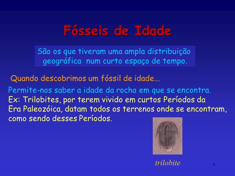 Idade das Rochas 10 É a idade, por comparação, com os fósseis de idade; dá um valor aproximado.