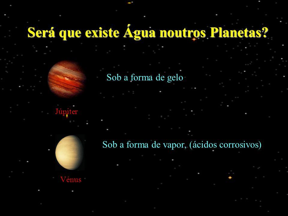 Será que existe Água noutros Planetas? Júpiter Sob a forma de gelo Vénus Sob a forma de vapor, (ácidos corrosivos)