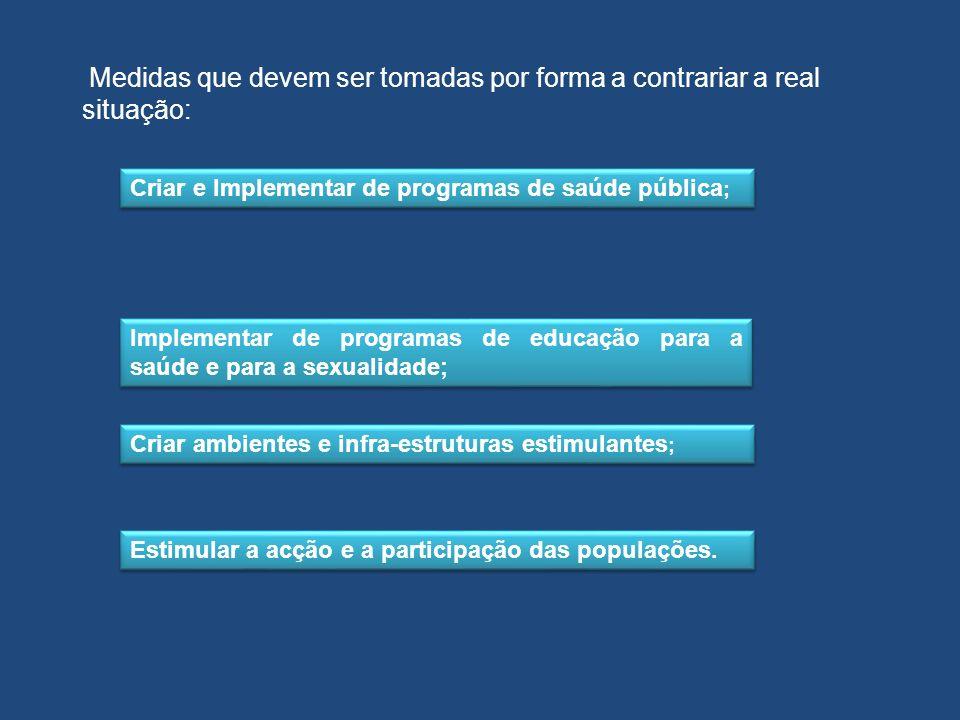 Criar e Implementar de programas de saúde pública ; Criar ambientes e infra-estruturas estimulantes ; Estimular a acção e a participação das populaçõe
