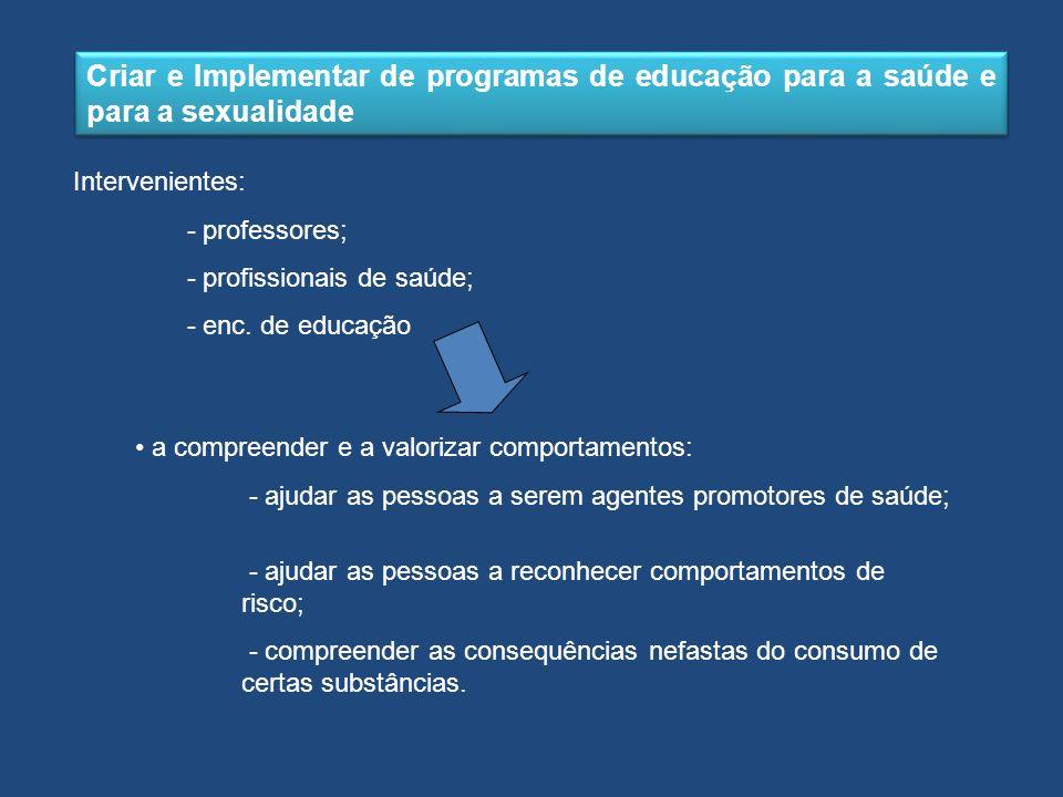 Criar e Implementar de programas de educação para a saúde e para a sexualidade Intervenientes: - professores; - profissionais de saúde; - enc. de educ