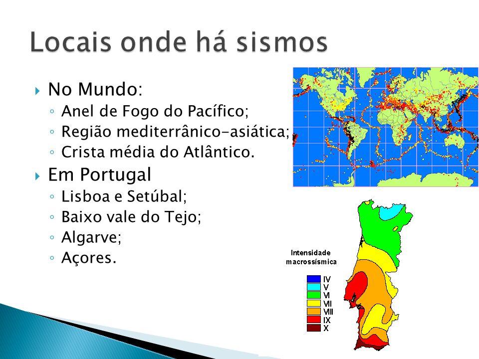 No Mundo: Anel de Fogo do Pacífico; Região mediterrânico-asiática; Crista média do Atlântico. Em Portugal Lisboa e Setúbal; Baixo vale do Tejo; Algarv