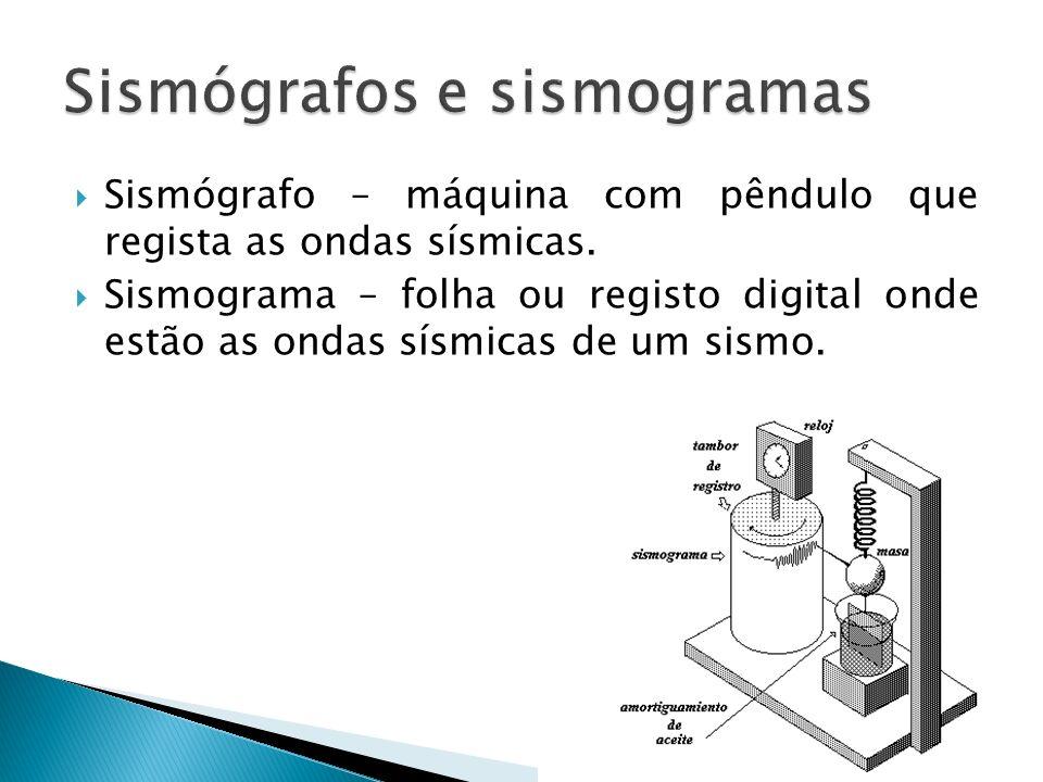 Sismógrafo – máquina com pêndulo que regista as ondas sísmicas. Sismograma – folha ou registo digital onde estão as ondas sísmicas de um sismo.