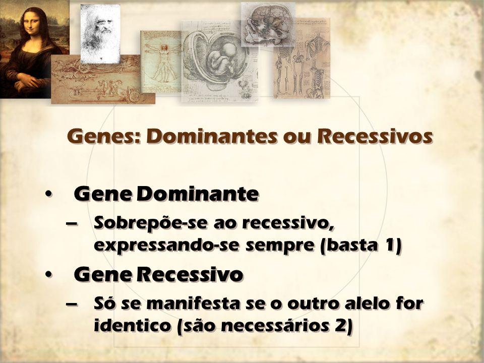 Genes: Dominantes ou Recessivos Gene Dominante –Sobrepõe-se ao recessivo, expressando-se sempre (basta 1) Gene Recessivo –Só se manifesta se o outro a
