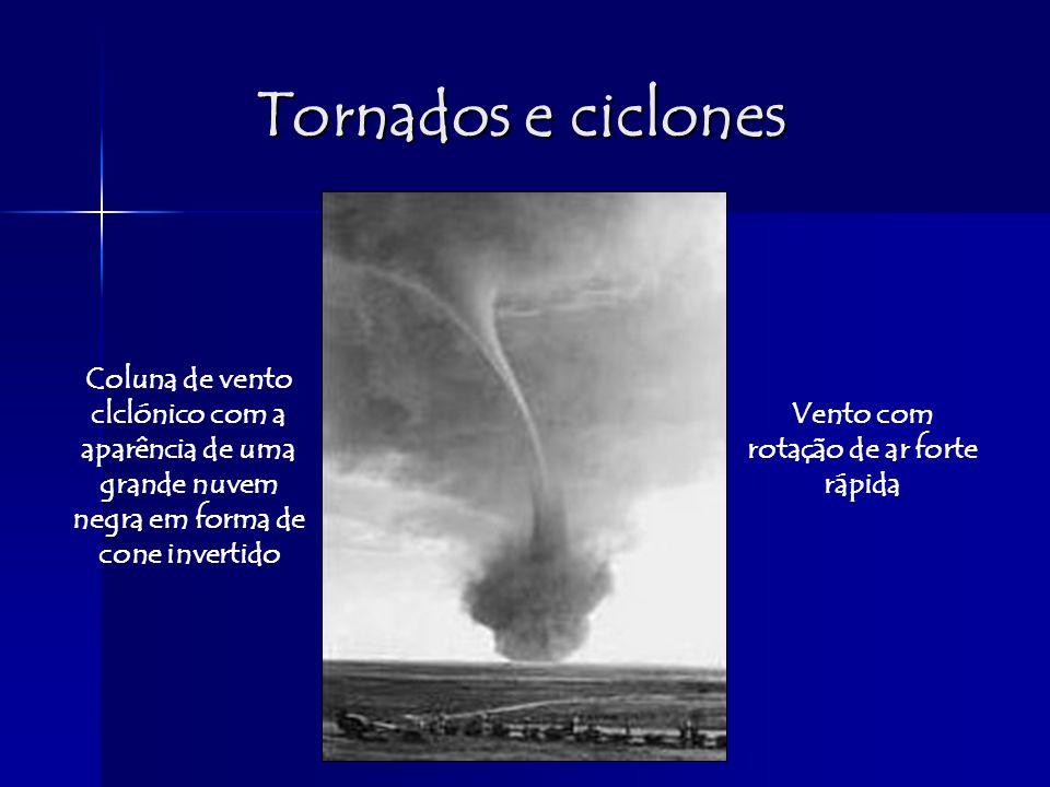 Tornados e ciclones Coluna de vento clclónico com a aparência de uma grande nuvem negra em forma de cone invertido Vento com rotação de ar forte rápid