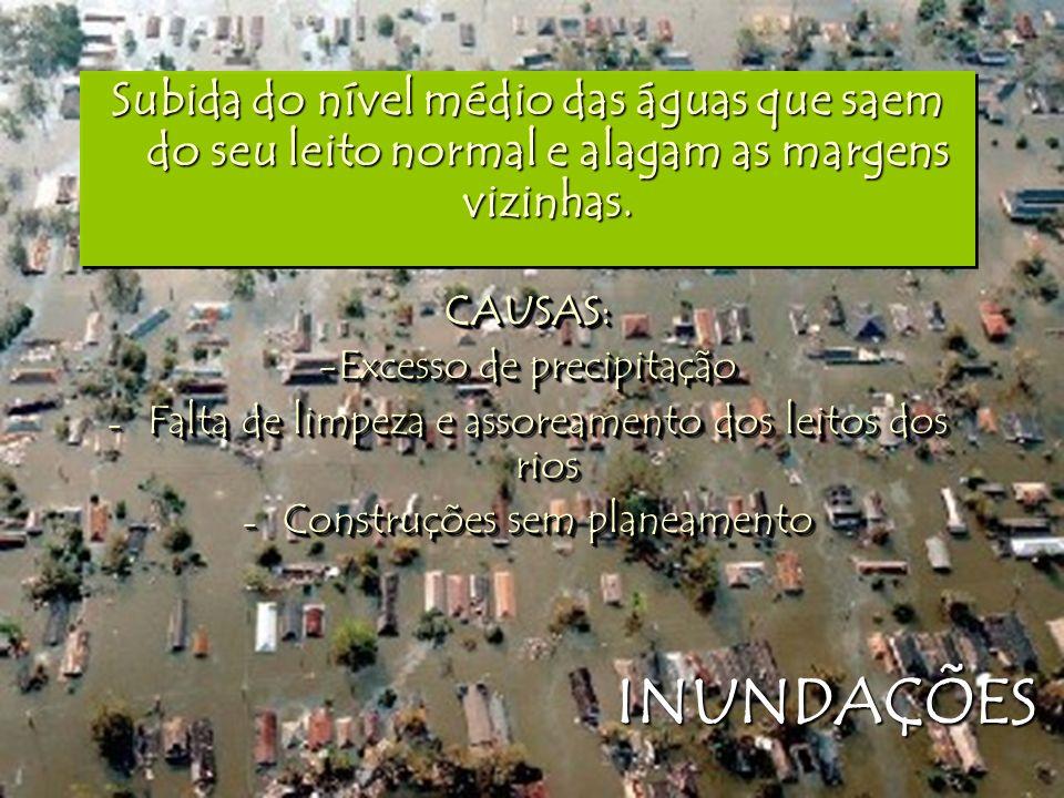 INUNDAÇÕES Subida do nível médio das águas que saem do seu leito normal e alagam as margens vizinhas. CAUSAS: -Excesso de precipitação - Falta de limp