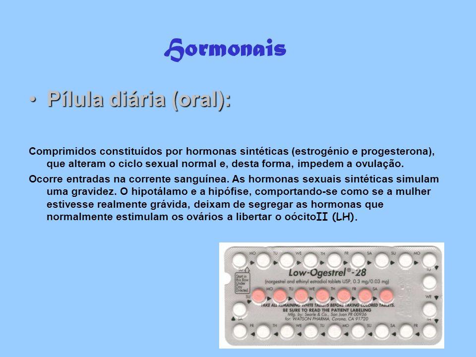 Hormonais Pílula diária (oral):Pílula diária (oral): Comprimidos constituídos por hormonas sintéticas (estrogénio e progesterona), que alteram o ciclo