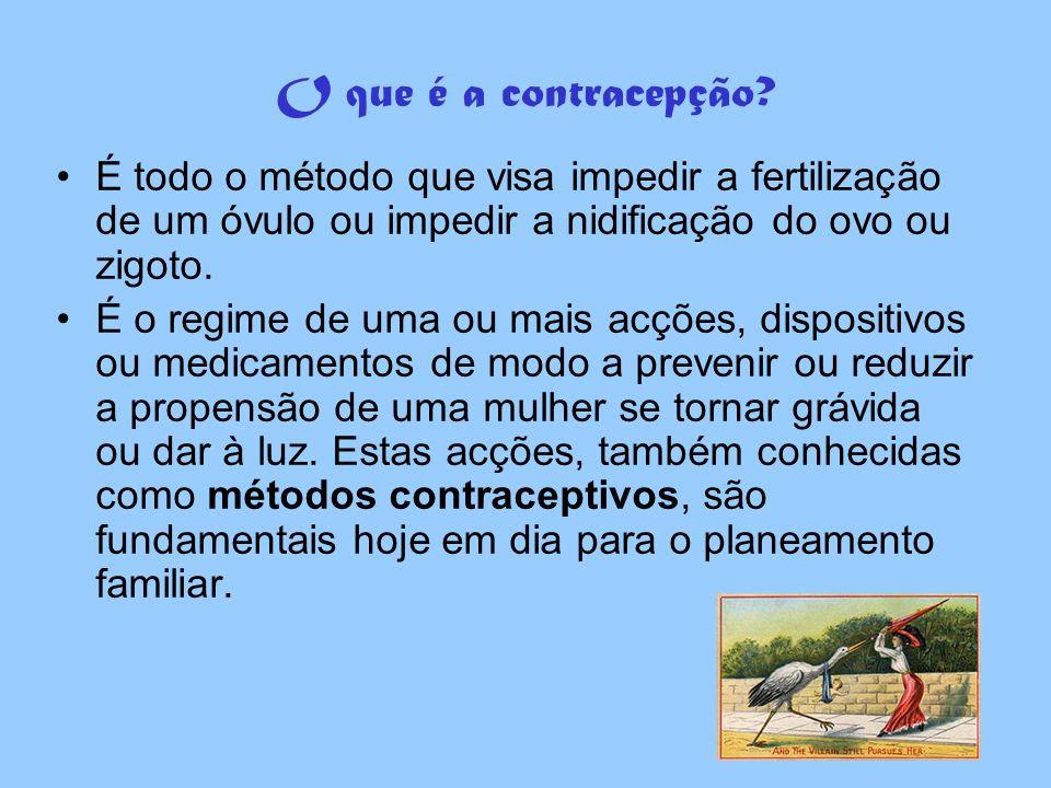 Métodos contraceptivos NaturaisNaturais –Consistem em calcular o período fértil e, desta forma, evitar que haja fecundação - abstinência periódica; Não Naturais (artificiais)Não Naturais (artificiais) –Impedem a gravidez através de dispositivos locais ou através de medicamentos com hormonas ováricas.