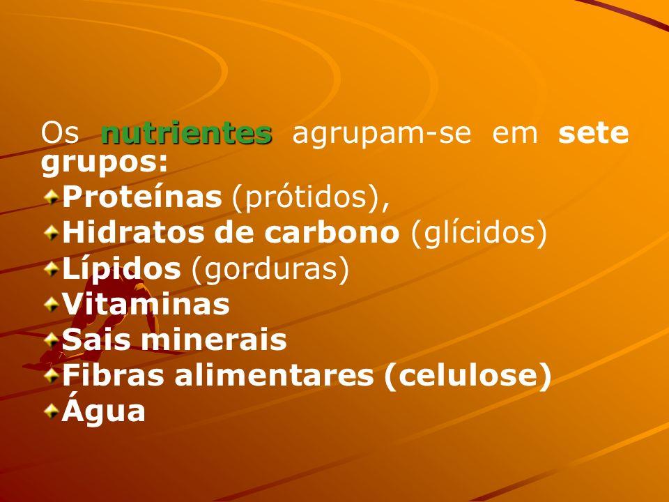 FRUTA Aspectos nutricionais Fornecem vitaminas, minerais (cálcio, ferro, potássio), fibras alimentares e, ainda, quantidades variáveis de hidratos de carbono (glícidos).