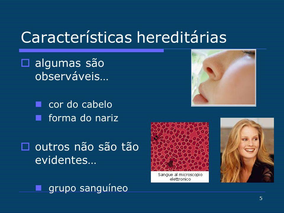 5 Características hereditárias algumas são observáveis… cor do cabelo forma do nariz outros não são tão evidentes… grupo sanguíneo