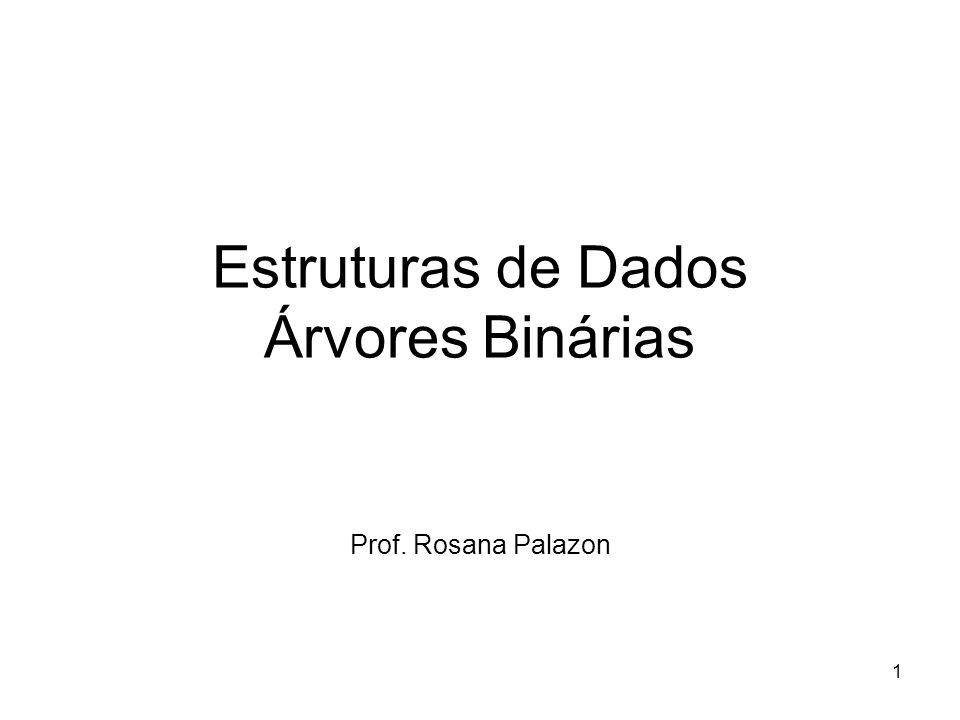 Estruturas de Dados Árvores Binárias Prof. Rosana Palazon 1