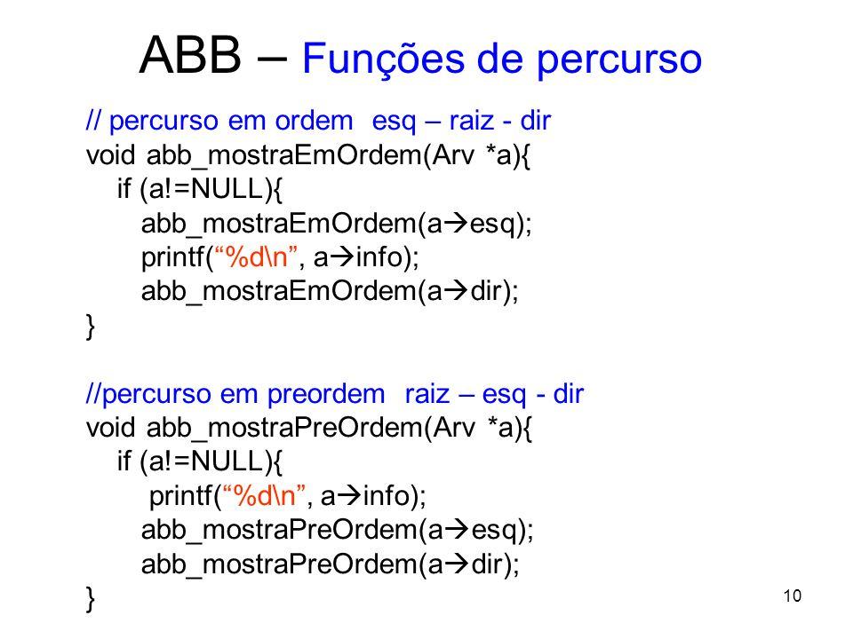 ABB – Funções de percurso // percurso em ordem esq – raiz - dir void abb_mostraEmOrdem(Arv *a){ if (a!=NULL){ abb_mostraEmOrdem(a esq); printf(%d\n, a info); abb_mostraEmOrdem(a dir); } //percurso em preordem raiz – esq - dir void abb_mostraPreOrdem(Arv *a){ if (a!=NULL){ printf(%d\n, a info); abb_mostraPreOrdem(a esq); abb_mostraPreOrdem(a dir); } 10
