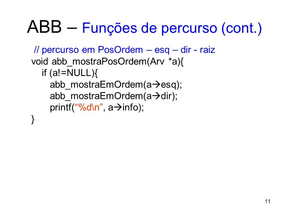 ABB – Funções de percurso (cont.) // percurso em PosOrdem – esq – dir - raiz void abb_mostraPosOrdem(Arv *a){ if (a!=NULL){ abb_mostraEmOrdem(a esq); abb_mostraEmOrdem(a dir); printf(%d\n, a info); } 11