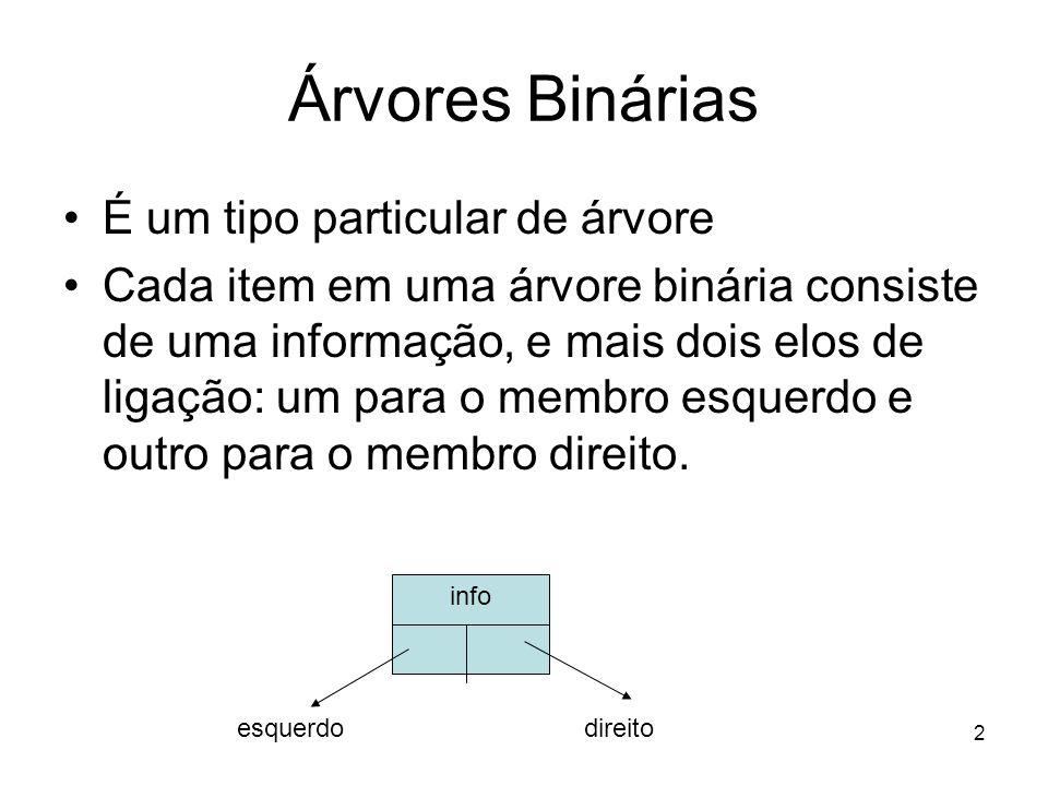 Árvores Binárias É um tipo particular de árvore Cada item em uma árvore binária consiste de uma informação, e mais dois elos de ligação: um para o membro esquerdo e outro para o membro direito.