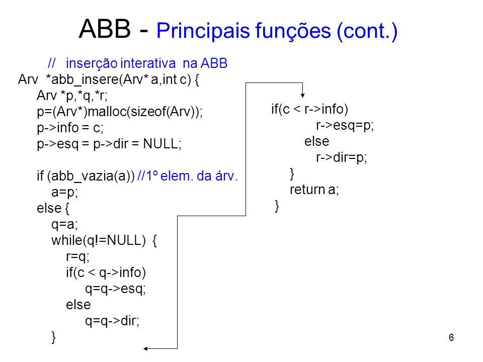 ABB - Principais funções (cont.) // inserção interativa na ABB Arv *abb_insere(Arv* a,int c) { Arv *p,*q,*r; p=(Arv*)malloc(sizeof(Arv)); p->info = c; p->esq = p->dir = NULL; if (abb_vazia(a)) //1º elem.