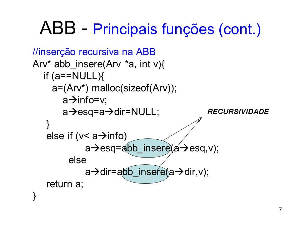 ABB - Principais funções (cont.) //busca um elemento na Abb Arv* abb_busca(Arv *r, int v){ if (r==NULL) return NULL; else if (r info > v) return abb_busca(r esq,v); else if (r info < v) return abb_busca(r dir,v); else return r; } 8
