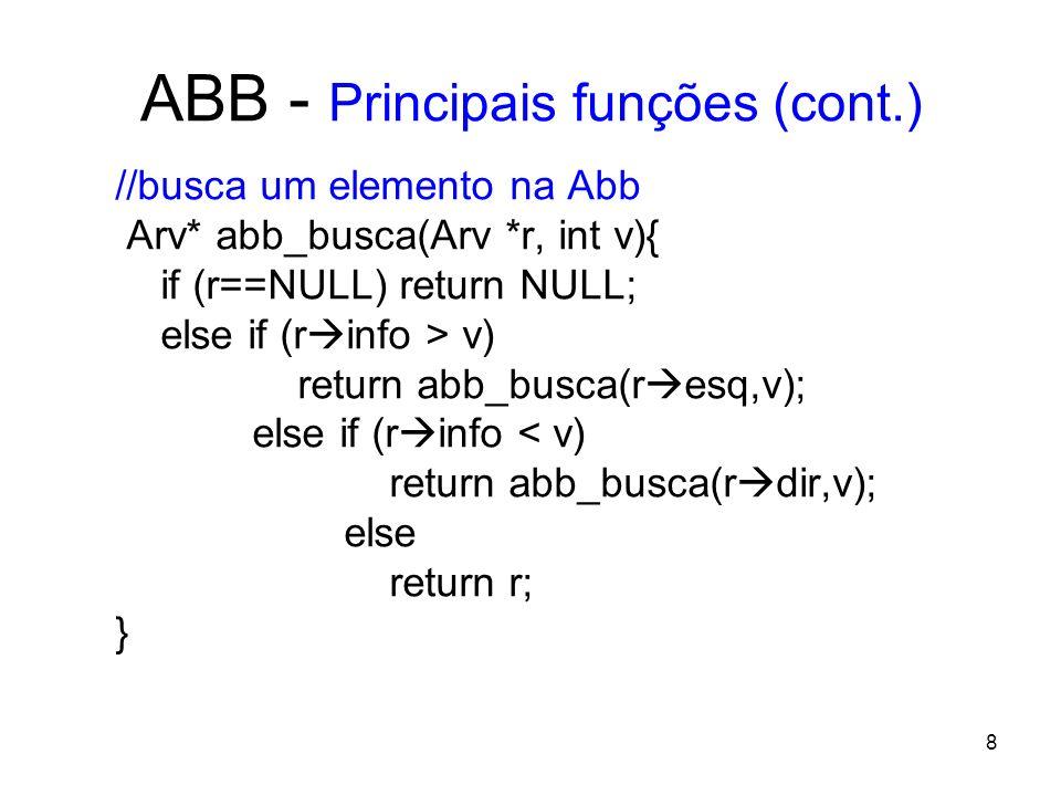 ABB - Principais funções (cont.) // remoção de um nó da ABB Arv* abb_retira(Arv *r, int v){ if (r==NULL) return NULL; else if (r info > v) r esq= abb_retira(r esq,v); else if (r info < v) r dir abb_retira(r dir,v); else { /* achou o elemento*/ /* elemento sem filhos */ if (r esq==NULL && r dir==NULL) { free (r); r=NULL; } /* só tem um filho à direita */ else if (r esq==NULL) { Arv* t=r; r=r dir; free(t); } /* só tem um filho à esquerda */ else if (r dir==NULL) { Arv *t=r; r=r esq; free (t); } 9