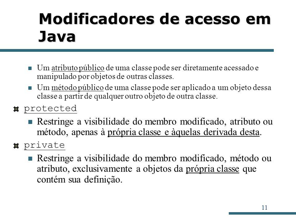 11 Modificadores de acesso em Java Um atributo público de uma classe pode ser diretamente acessado e manipulado por objetos de outras classes. Um méto