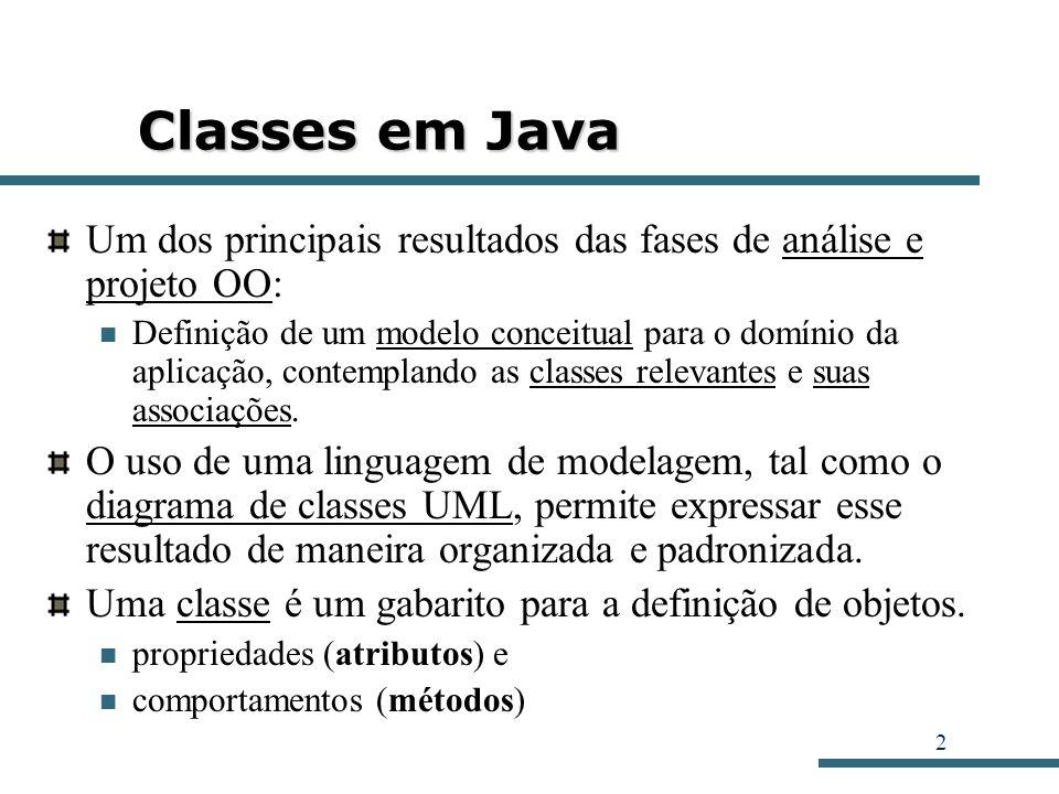 3 Definição de Classes em Java Diagrama de Classes: a representação de classes contempla três tipos básicos de informação: Automóvel - nomeProprietario: String - modelo: String - placa: String - ano: Integer + transferirProprietario (nome: String): void + mudarPlaca (nPlaca: String): void + imprimir (): void Nome da classe: Um identificador para a classe que permite referenciá-la posteriormente (por exemplo, no momento da criação de um objeto).