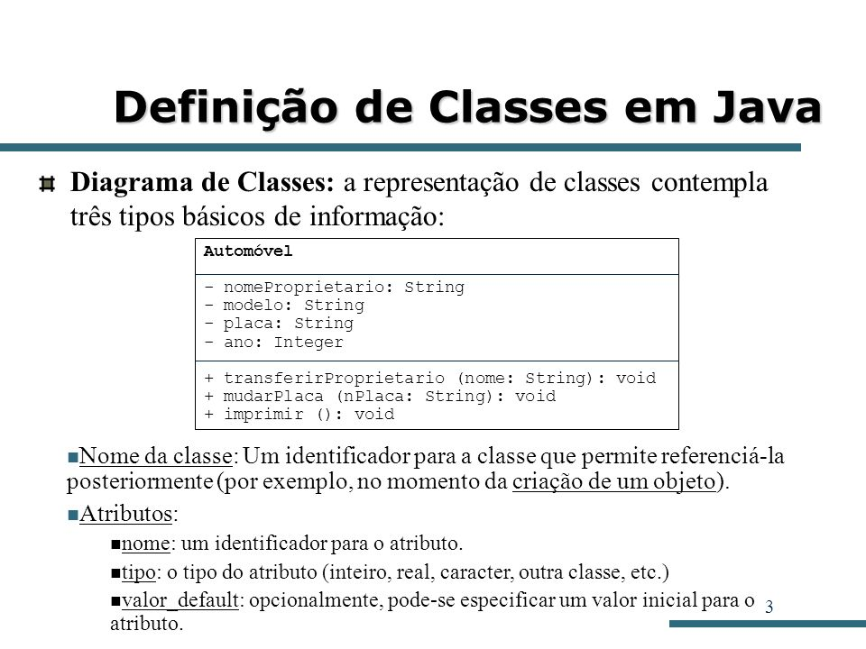3 Definição de Classes em Java Diagrama de Classes: a representação de classes contempla três tipos básicos de informação: Automóvel - nomeProprietari