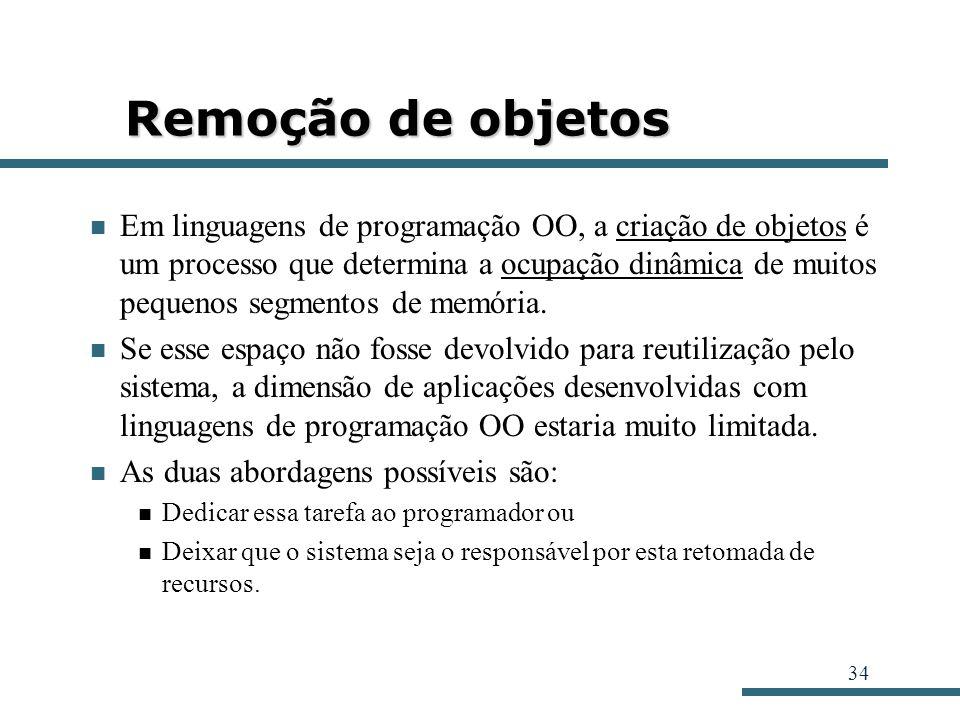 34 Remoção de objetos Em linguagens de programação OO, a criação de objetos é um processo que determina a ocupação dinâmica de muitos pequenos segment