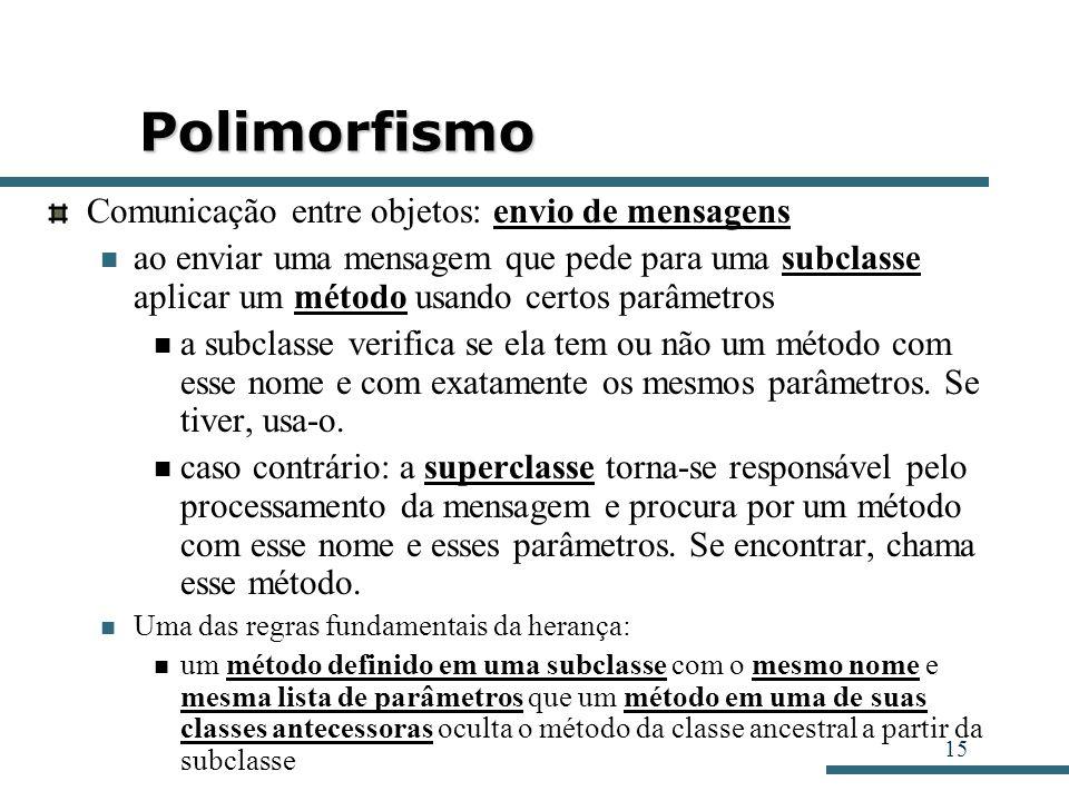 15 Polimorfismo Comunicação entre objetos: envio de mensagens ao enviar uma mensagem que pede para uma subclasse aplicar um método usando certos parâm