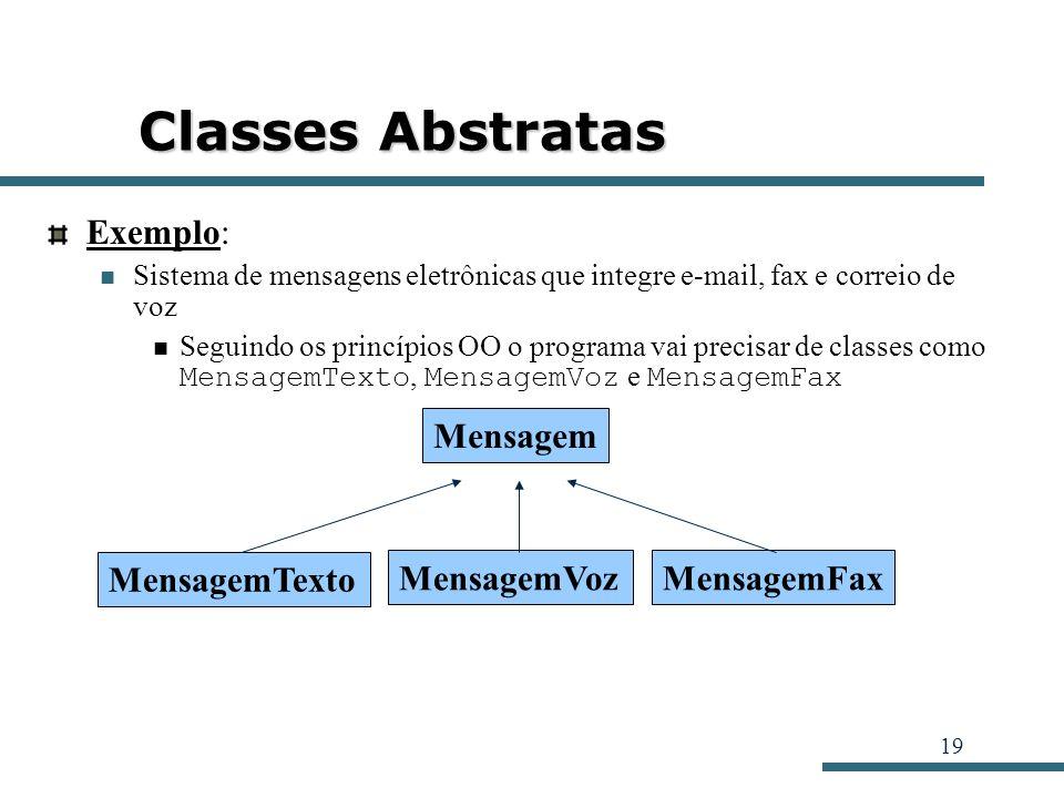 19 Classes Abstratas Exemplo: Sistema de mensagens eletrônicas que integre e-mail, fax e correio de voz Seguindo os princípios OO o programa vai preci