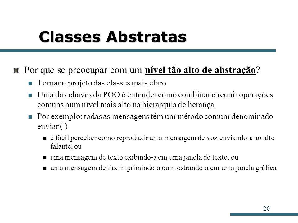 20 Classes Abstratas Por que se preocupar com um nível tão alto de abstração? Tornar o projeto das classes mais claro Uma das chaves da POO é entender