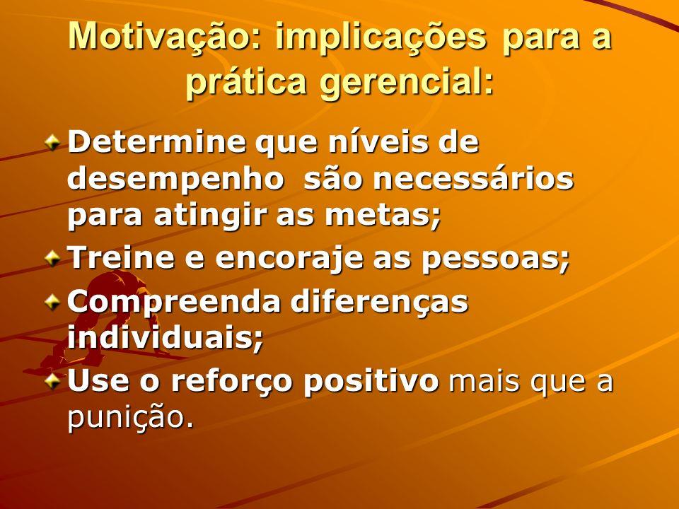Motivação: implicações para a prática gerencial: Determine que níveis de desempenho são necessários para atingir as metas; Treine e encoraje as pessoa