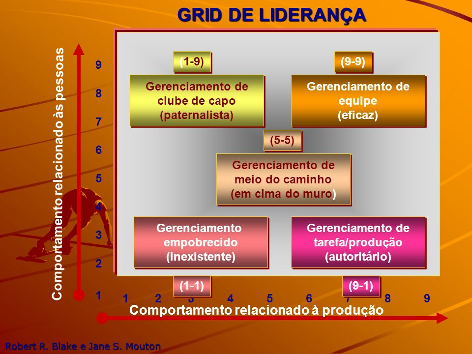 GRID DE LIDERANÇA 987654321987654321 1 2 3 4 5 6 7 8 9 Comportamento relacionado às pessoas Comportamento relacionado à produção Gerenciamento de club