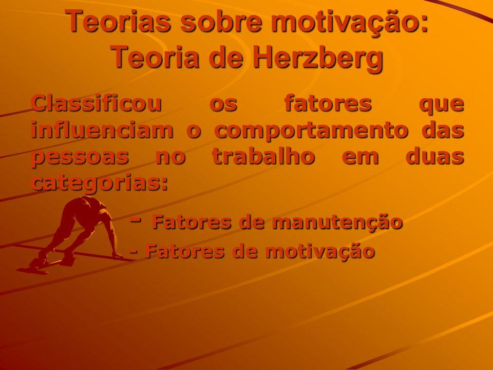 Teorias sobre motivação: Teoria de Herzberg Classificou os fatores que influenciam o comportamento das pessoas no trabalho em duas categorias: - Fator