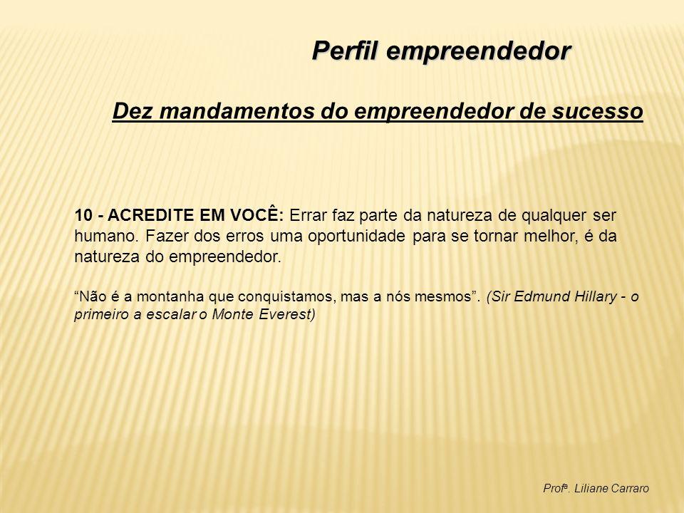 Prof a. Liliane Carraro Perfil empreendedor 10 - ACREDITE EM VOCÊ: Errar faz parte da natureza de qualquer ser humano. Fazer dos erros uma oportunidad