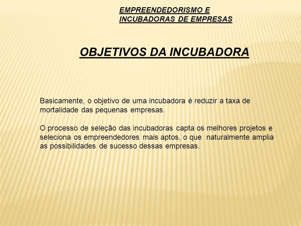 Basicamente, o objetivo de uma incubadora é reduzir a taxa de mortalidade das pequenas empresas. O processo de seleção das incubadoras capta os melhor