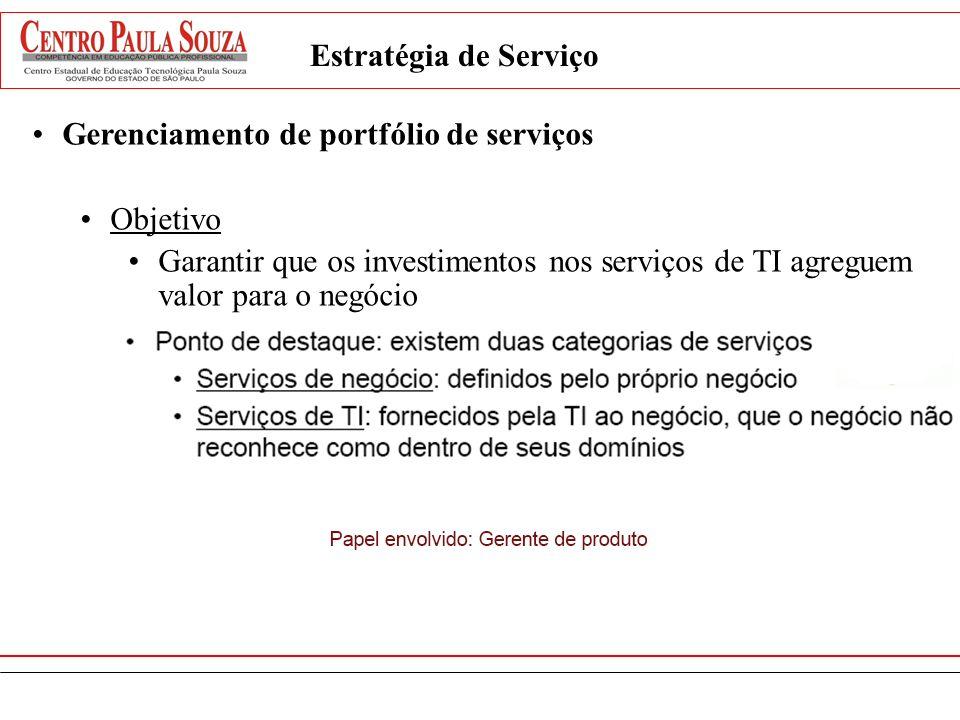 Estratégia de Serviço Gerenciamento de portfólio de serviços Objetivo Garantir que os investimentos nos serviços de TI agreguem valor para o negócio