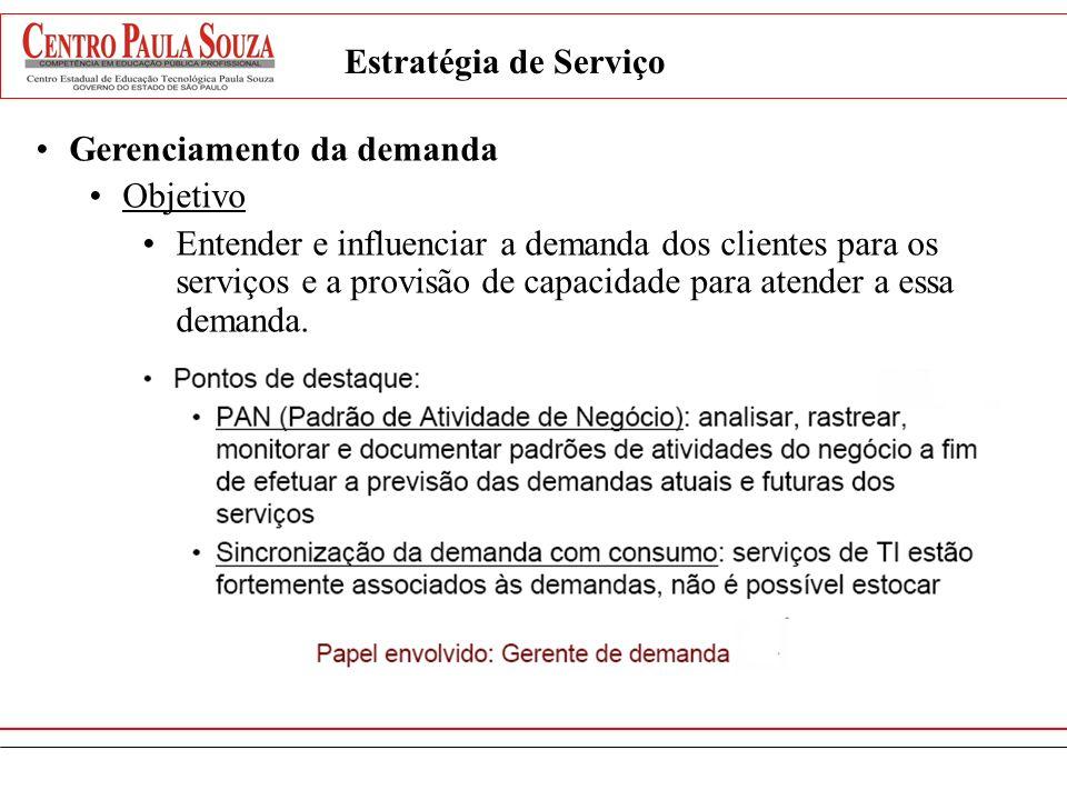 Estratégia de Serviço Gerenciamento da demanda Objetivo Entender e influenciar a demanda dos clientes para os serviços e a provisão de capacidade para