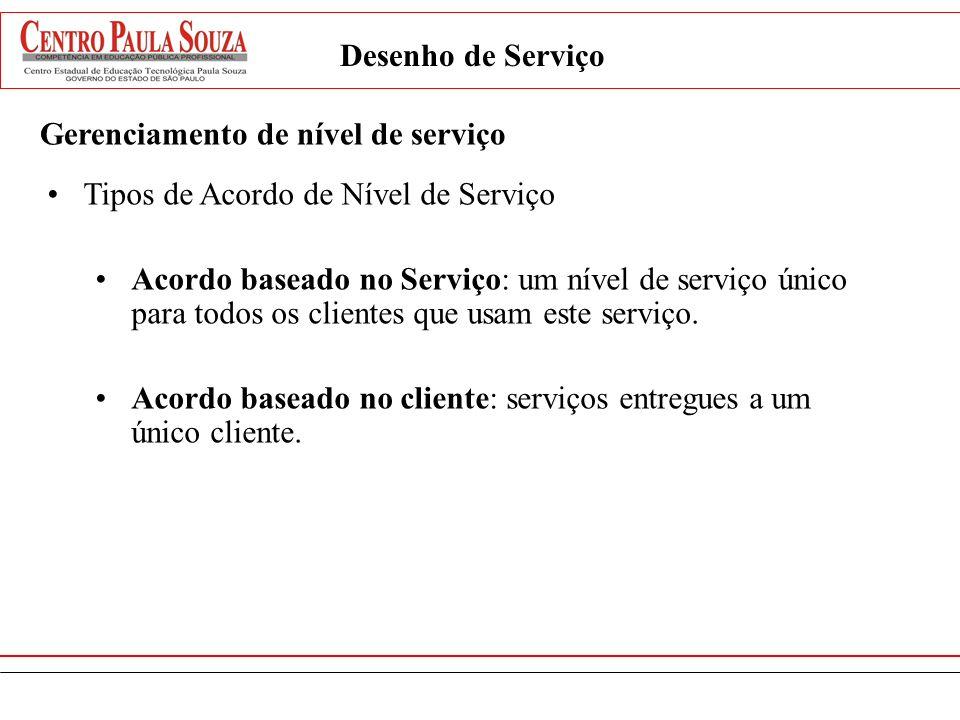 Desenho de Serviço Gerenciamento de nível de serviço Tipos de Acordo de Nível de Serviço Acordo baseado no Serviço: um nível de serviço único para tod