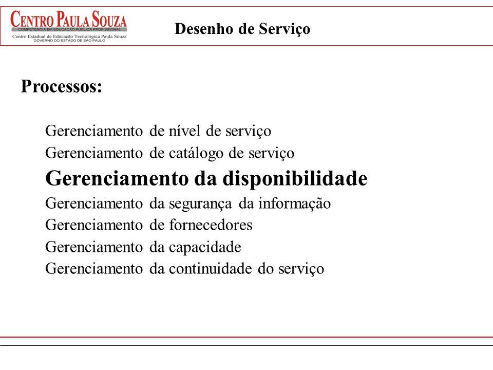 Processos: Gerenciamento de nível de serviço Gerenciamento de catálogo de serviço Gerenciamento da disponibilidade Gerenciamento da segurança da infor
