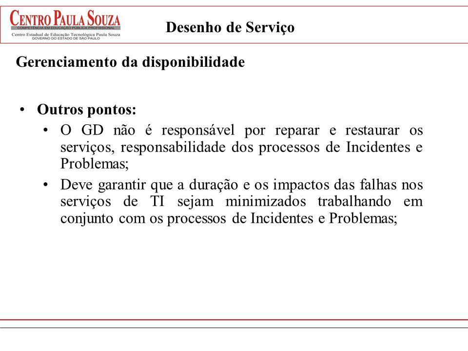 Desenho de Serviço Gerenciamento da disponibilidade Outros pontos: O GD não é responsável por reparar e restaurar os serviços, responsabilidade dos pr