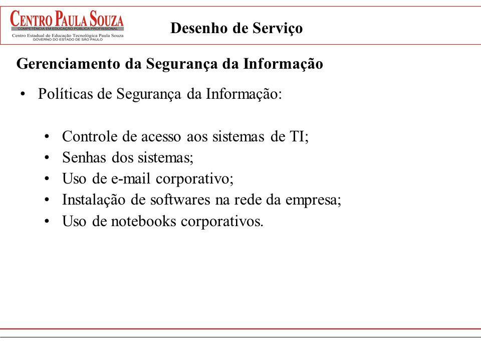 Desenho de Serviço Gerenciamento da Segurança da Informação Políticas de Segurança da Informação: Controle de acesso aos sistemas de TI; Senhas dos si