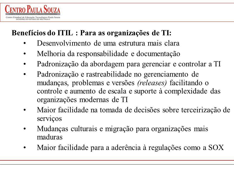 As vantagens do uso da ITIL Benefícios do ITIL : Para as organizações de TI: Desenvolvimento de uma estrutura mais clara Melhoria da responsabilidade