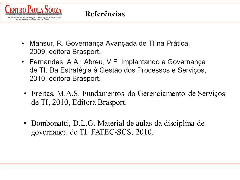 Referências Freitas, M.A.S. Fundamentos do Gerenciamento de Serviços de TI, 2010, Editora Brasport. Bombonatti, D.L.G. Material de aulas da disciplina
