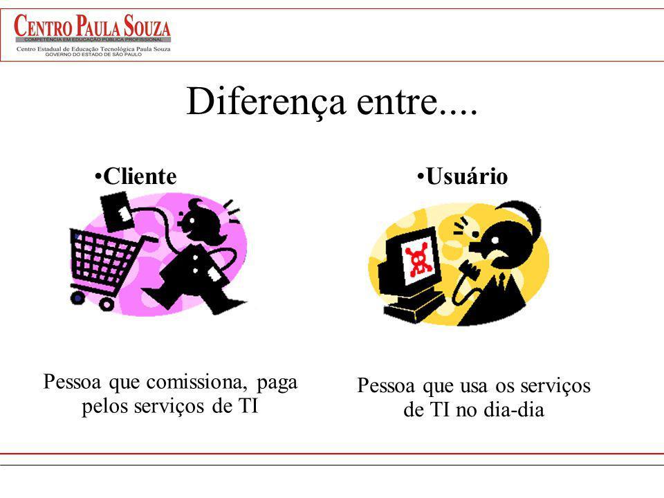 Diferença entre.... ClienteUsuário Pessoa que comissiona, paga pelos serviços de TI Pessoa que usa os serviços de TI no dia-dia