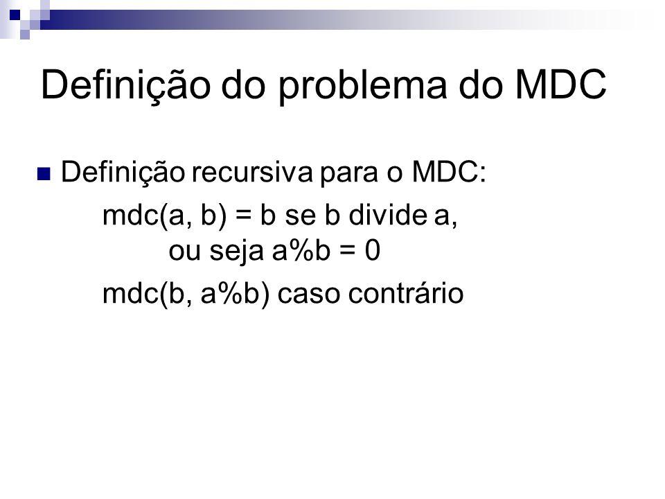 Definição do problema do MDC Definição recursiva para o MDC: mdc(a, b) = b se b divide a, ou seja a%b = 0 mdc(b, a%b) caso contrário
