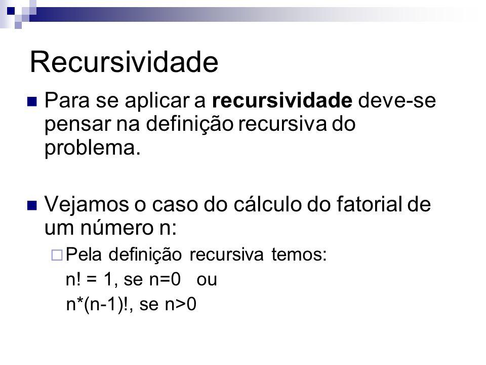 Recursividade Para se aplicar a recursividade deve-se pensar na definição recursiva do problema. Vejamos o caso do cálculo do fatorial de um número n: