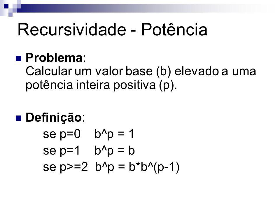 Recursividade - Potência Problema: Calcular um valor base (b) elevado a uma potência inteira positiva (p). Definição: se p=0 b^p = 1 se p=1 b^p = b se