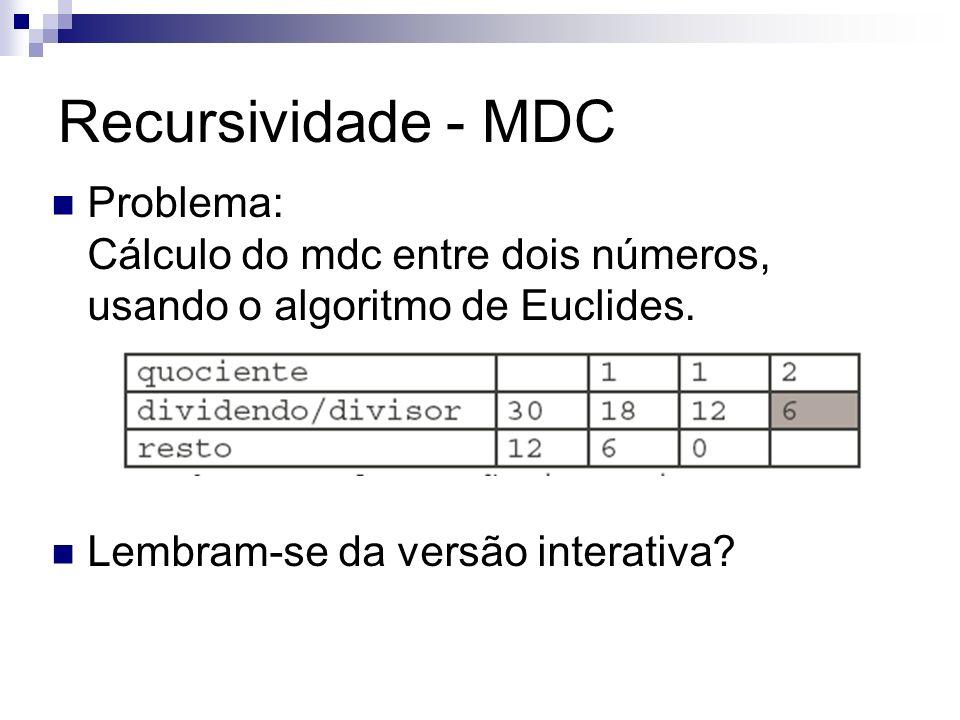 Recursividade - MDC Problema: Cálculo do mdc entre dois números, usando o algoritmo de Euclides. Lembram-se da versão interativa?