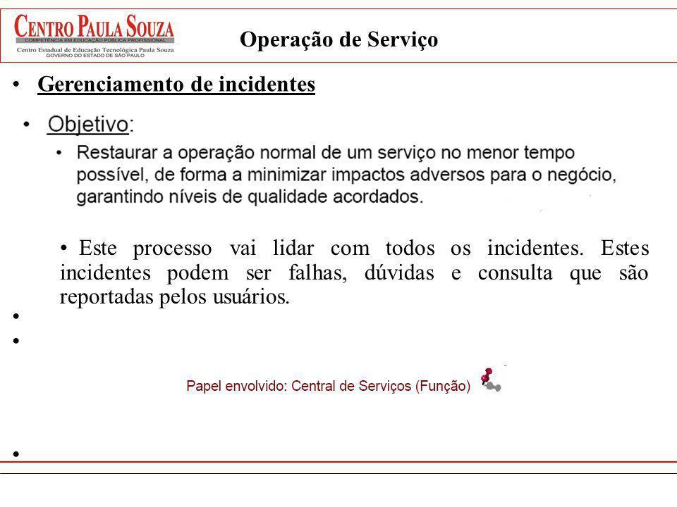 Operação de Serviço Gerenciamento de incidentes Este processo vai lidar com todos os incidentes. Estes incidentes podem ser falhas, dúvidas e consulta