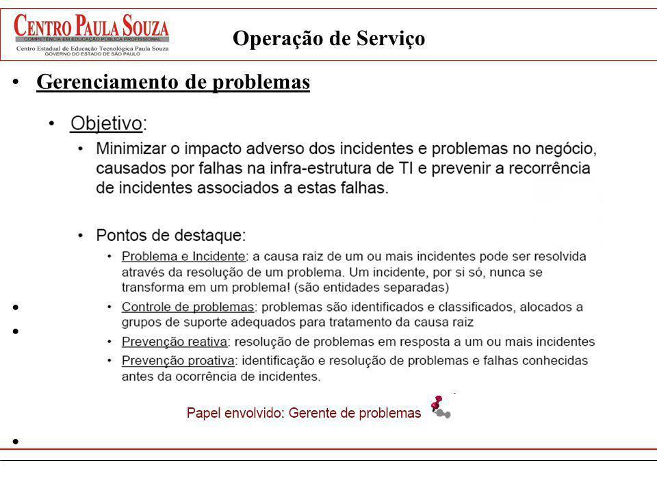 Operação de Serviço Gerenciamento de problemas