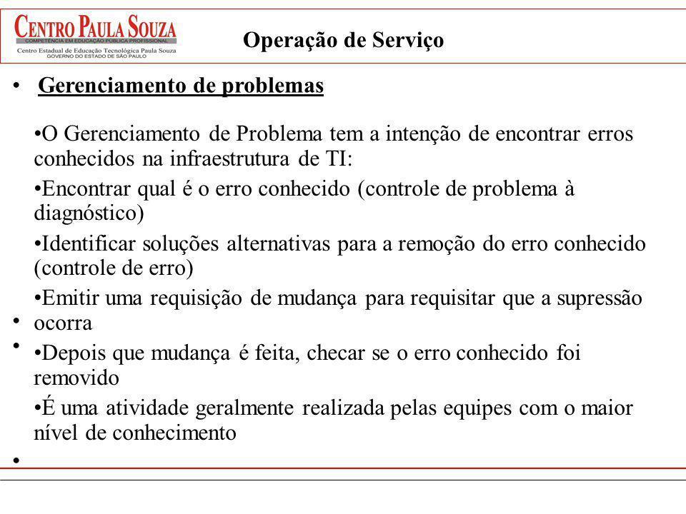 Operação de Serviço Gerenciamento de problemas O Gerenciamento de Problema tem a intenção de encontrar erros conhecidos na infraestrutura de TI: Encon