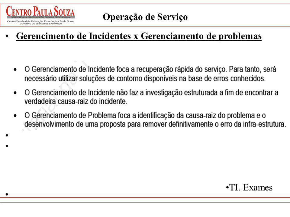 Operação de Serviço Gerencimento de Incidentes x Gerenciamento de problemas TI. Exames
